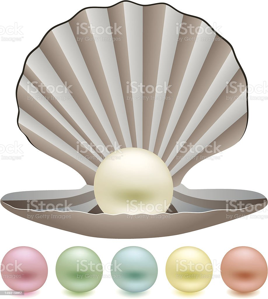 pearls and a shell royalty-free stock vector art