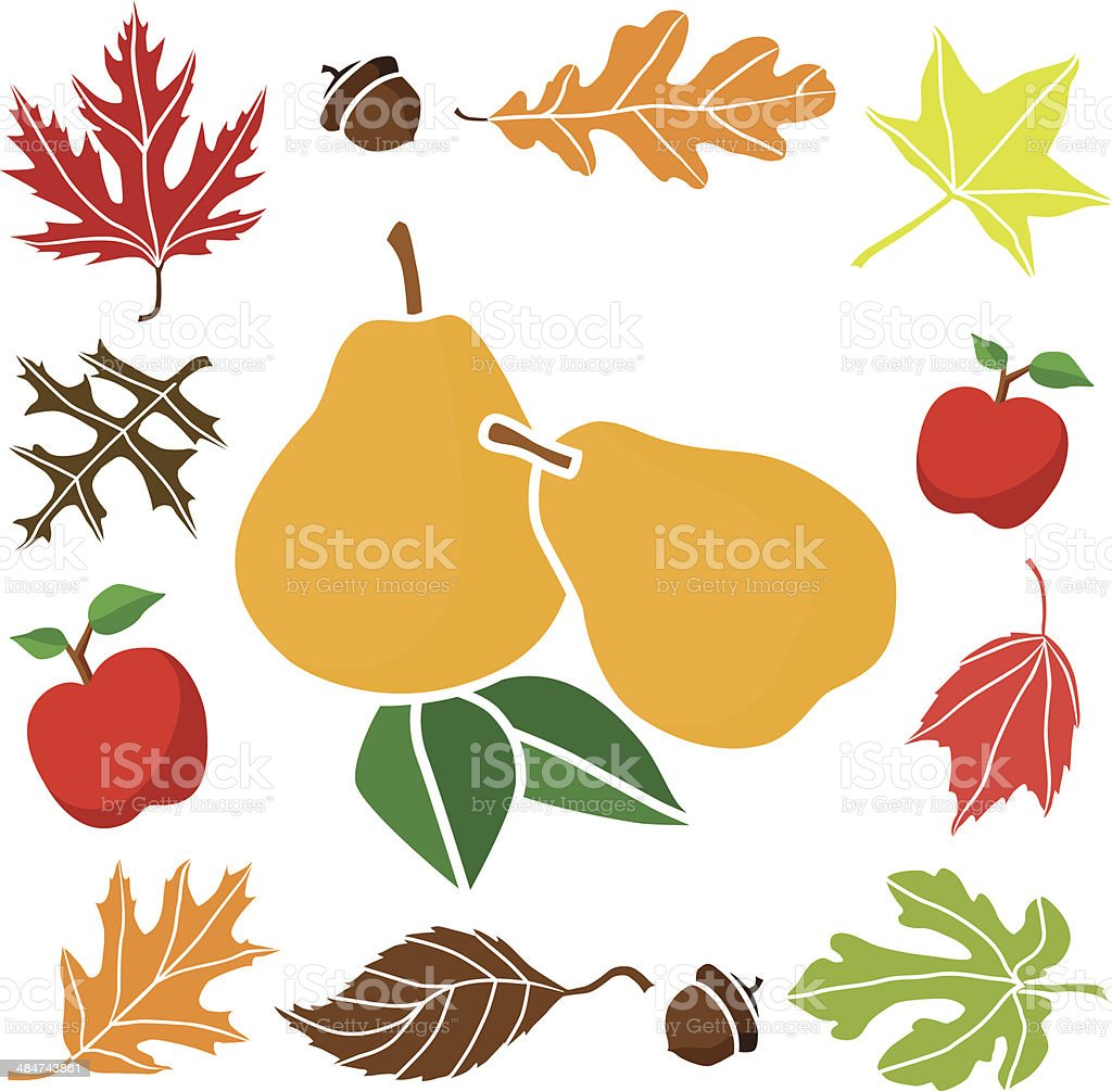 pears with autumn border design elements royalty-free stock vector art