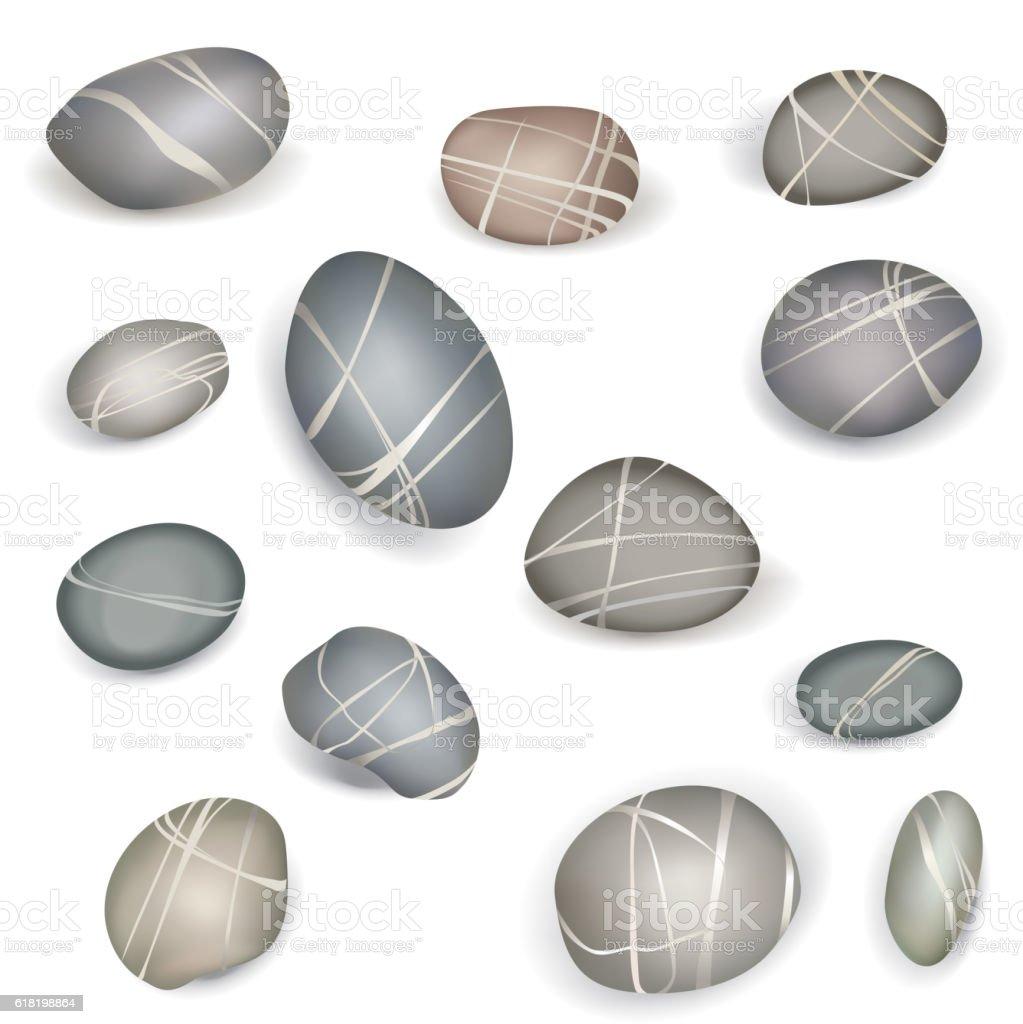 Pebbles stones set. Zen-like Design elements vector art illustration