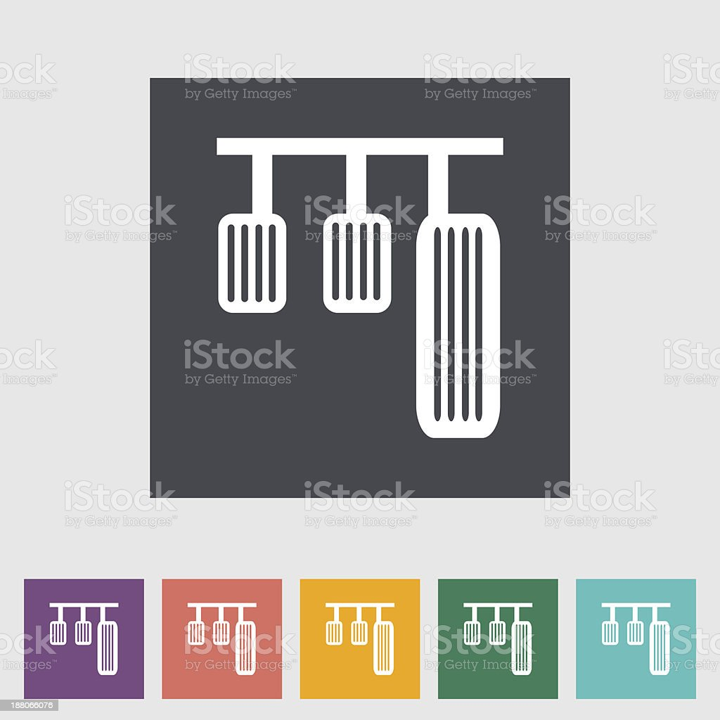 Pedal car single flat icon. vector art illustration