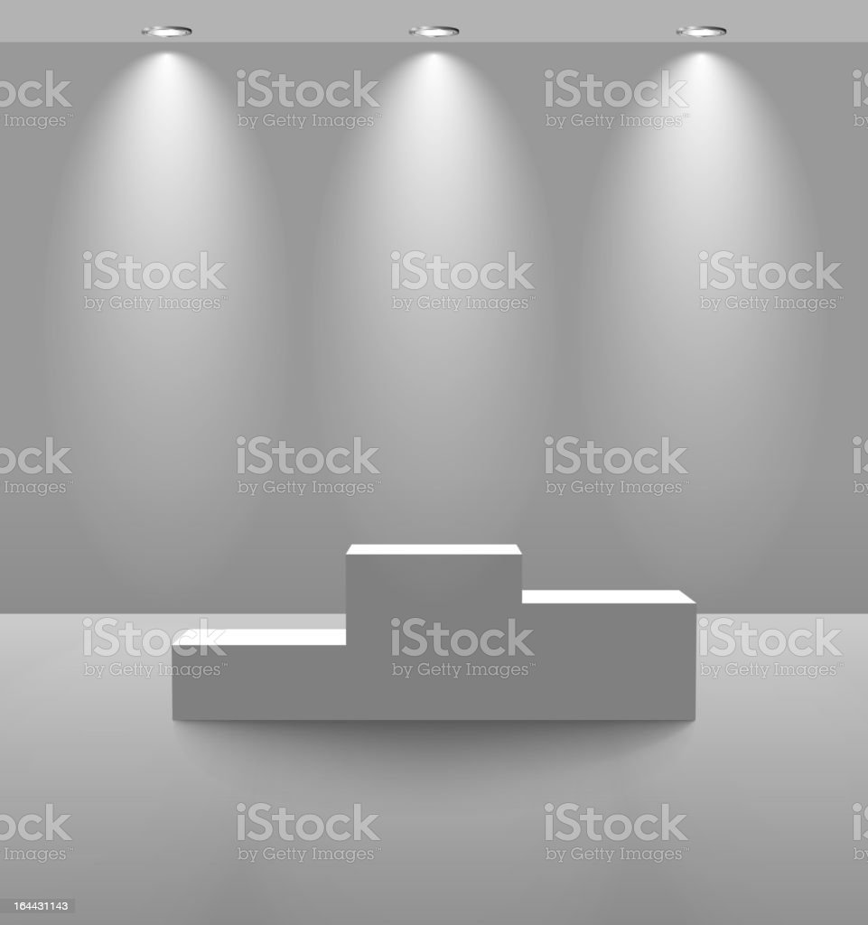 Pedestal in a lightened room royalty-free stock vector art
