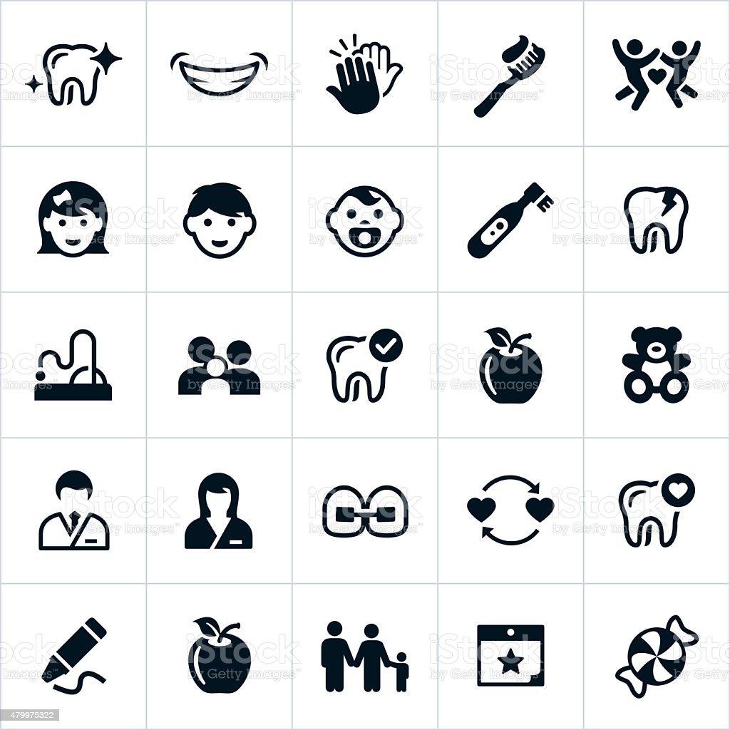 Pediatric Dentistry Icons vector art illustration