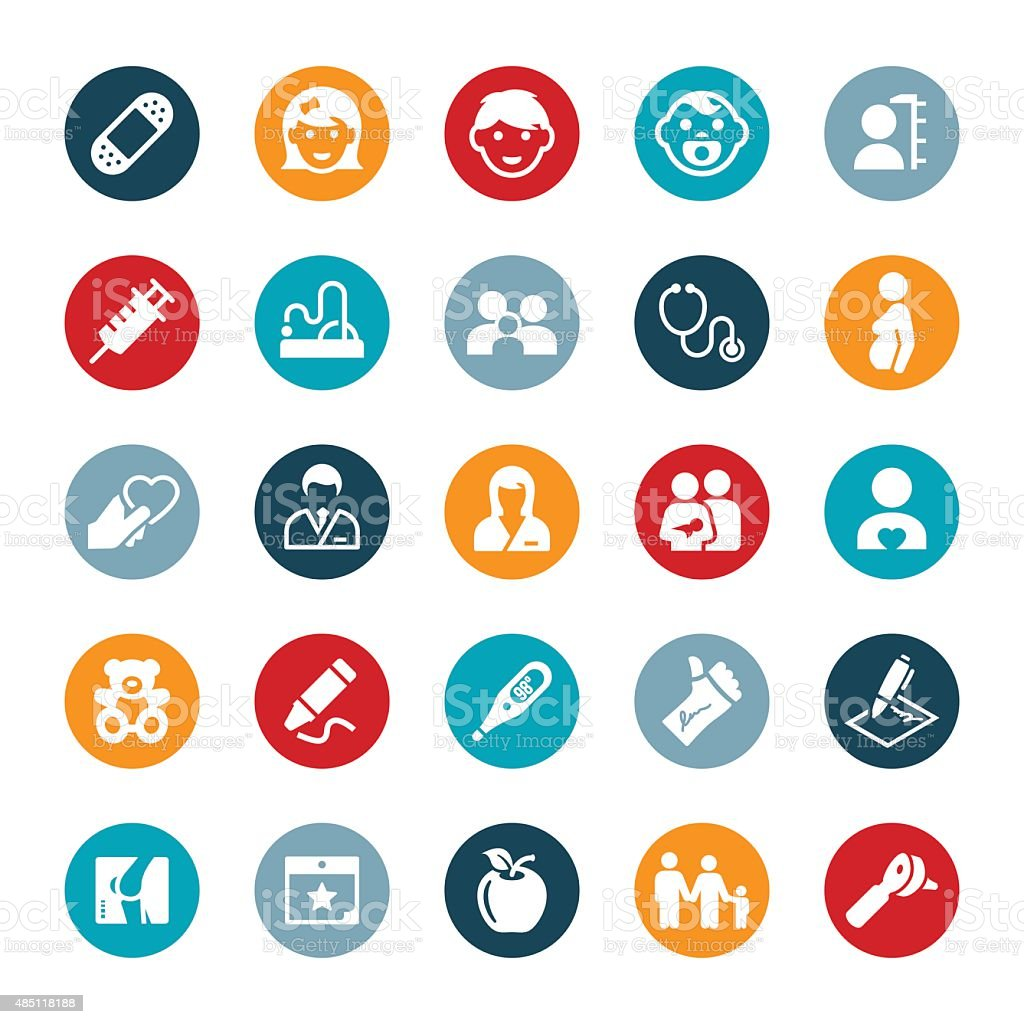 Pediatric Medicine Icons vector art illustration