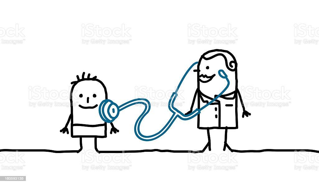 pediatrician & kid vector art illustration