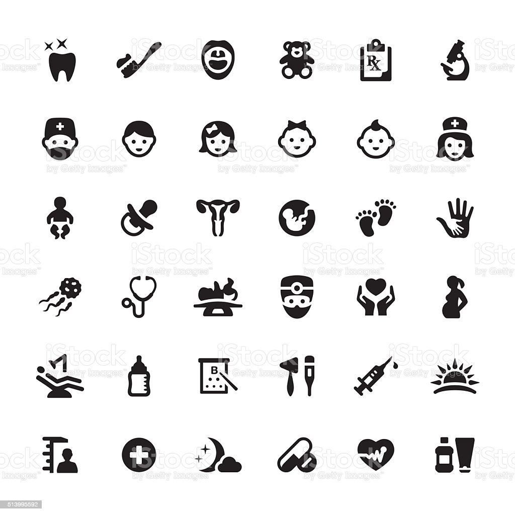 Pediatrician and Babies vector symbols and icons vector art illustration