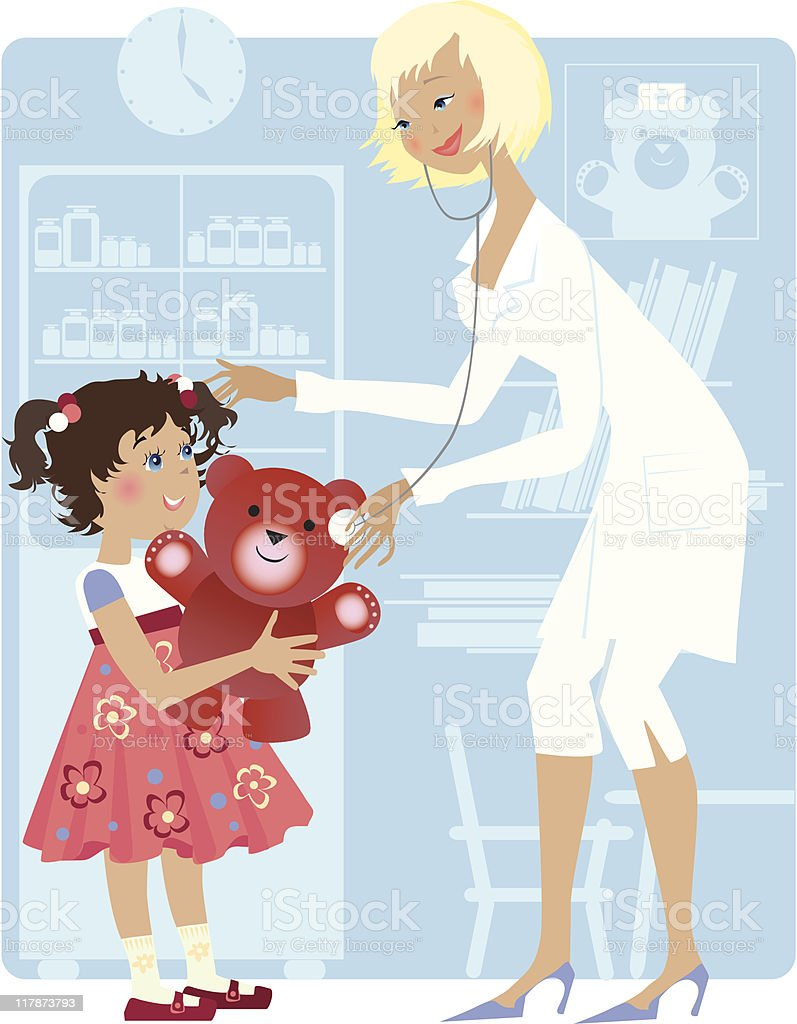 Pediatrician and girl royalty-free stock vector art