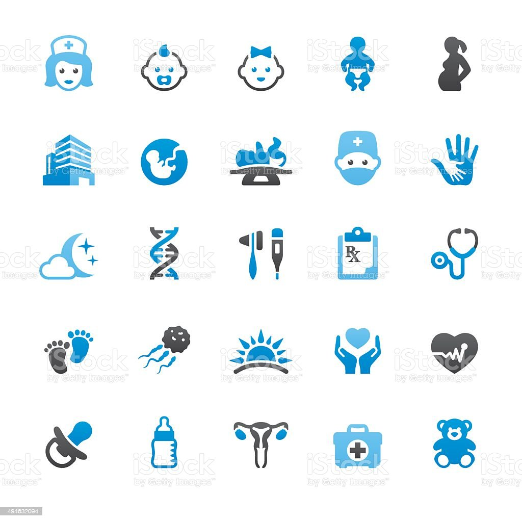 Pediatrician and Reproduction related vector icons vector art illustration