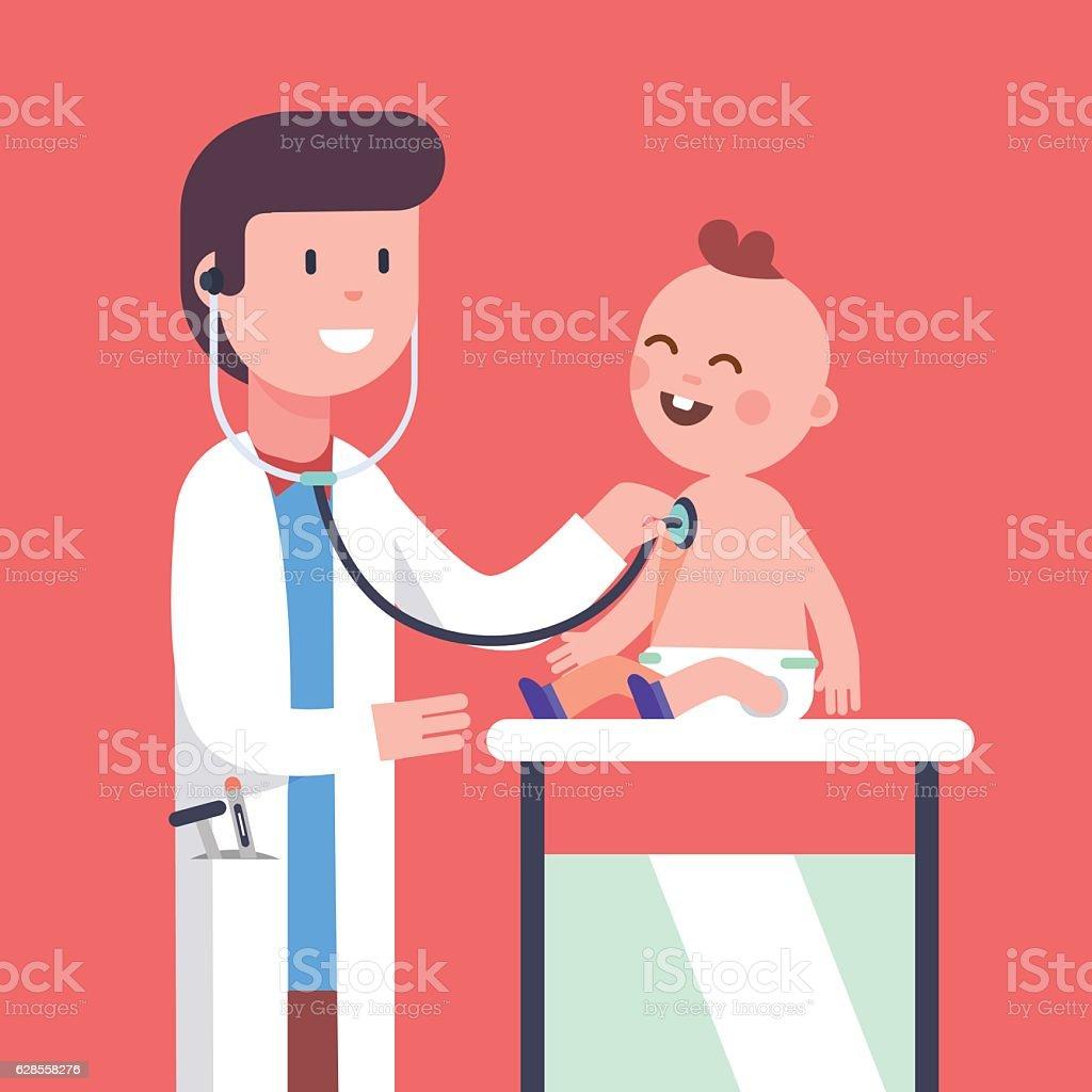 Pediatrician doctor examining little baby boy vector art illustration