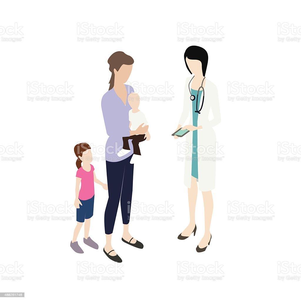 Pediatrician with mom illustration vector art illustration