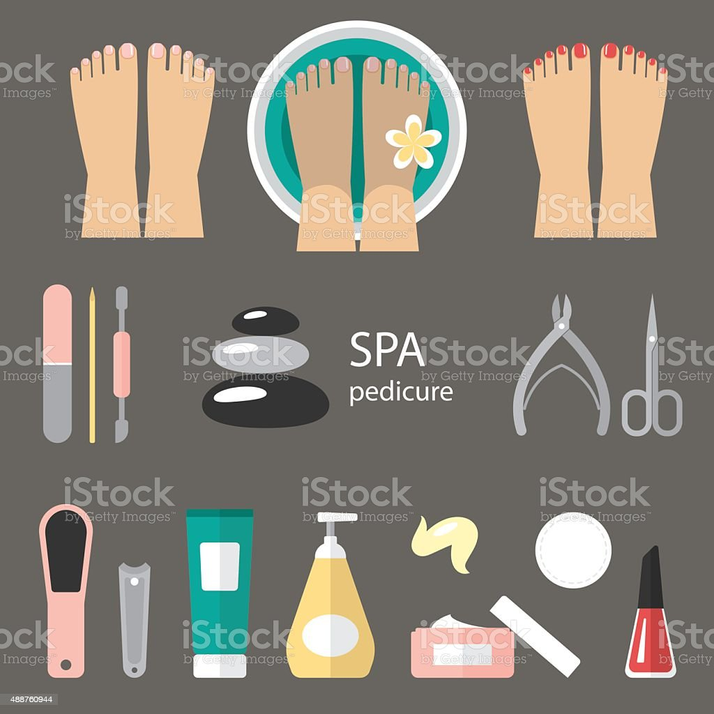 Pedicure icons vector art illustration