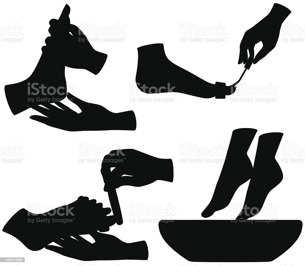 Pedicure silhouettes vector art illustration