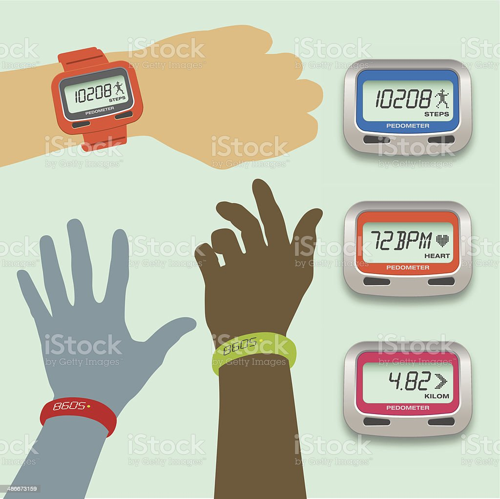 Pedometer concepts with steps, heart rate and distance displays vector art illustration