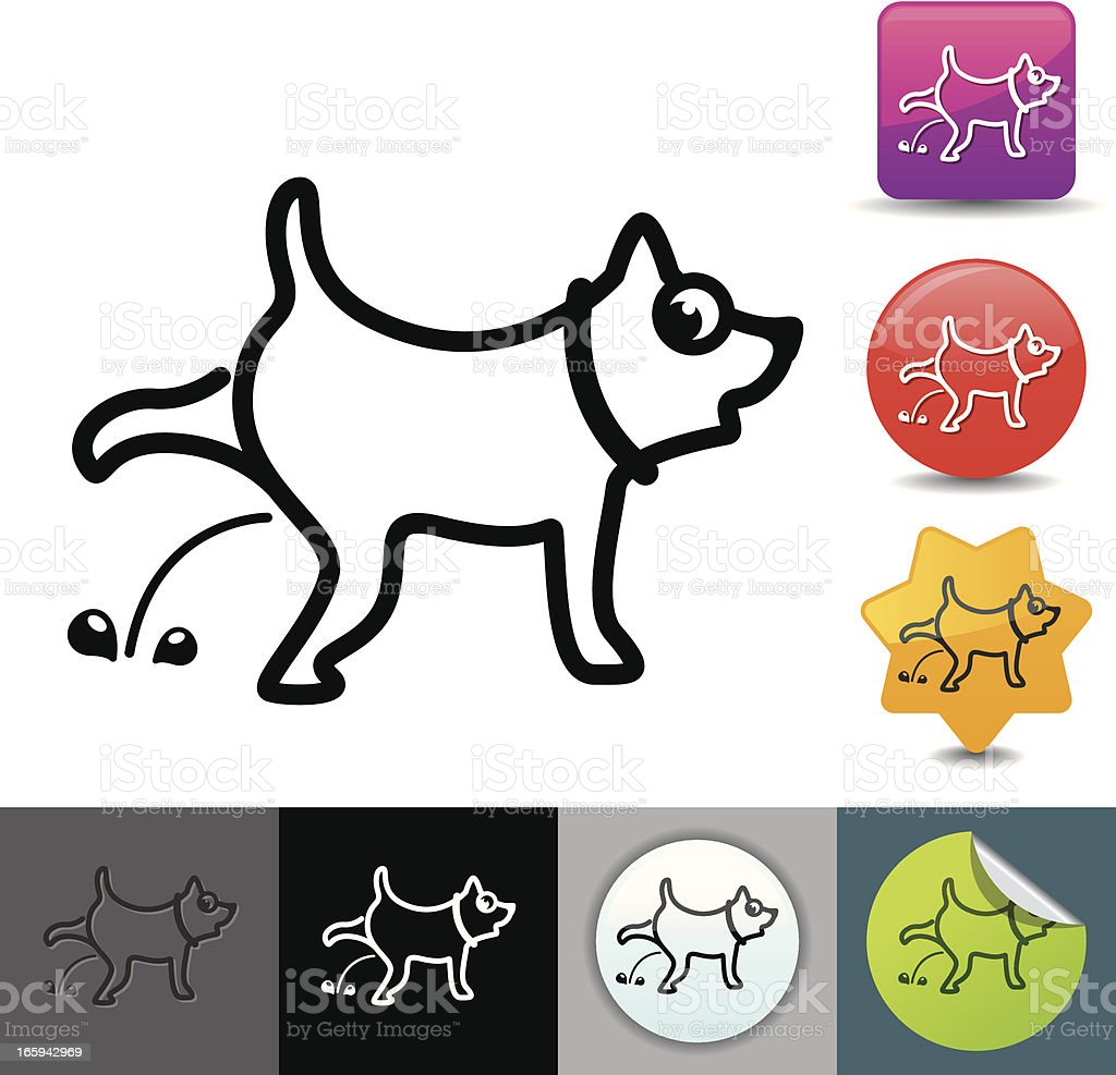Peeing dog icon | solicosi series vector art illustration