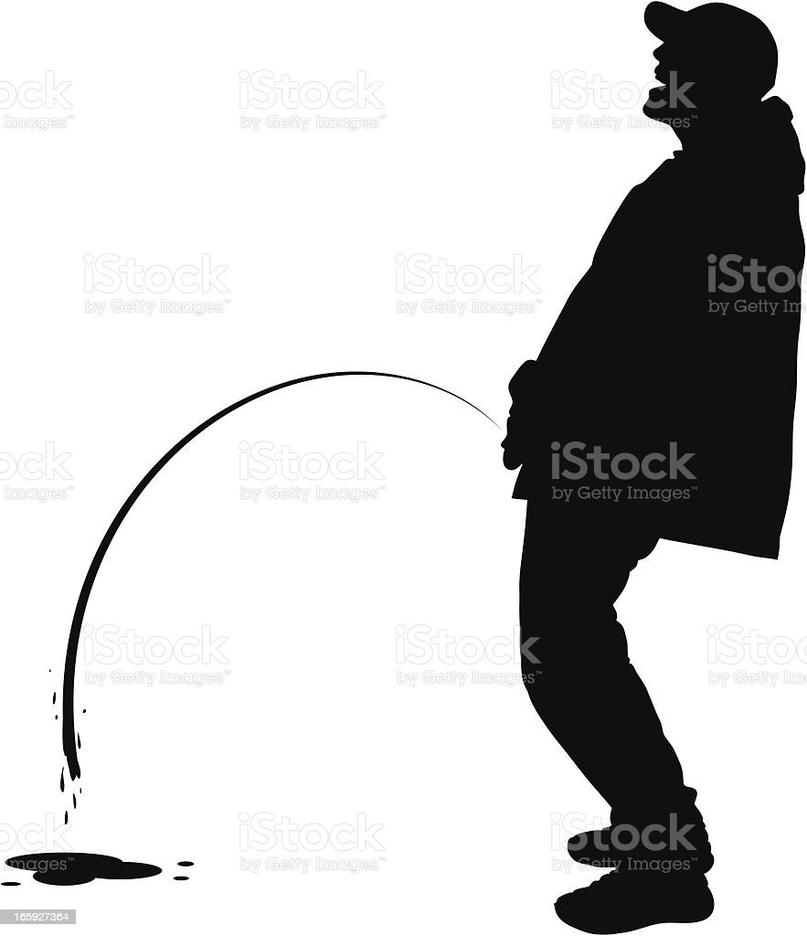 Peeing Man vector art illustration
