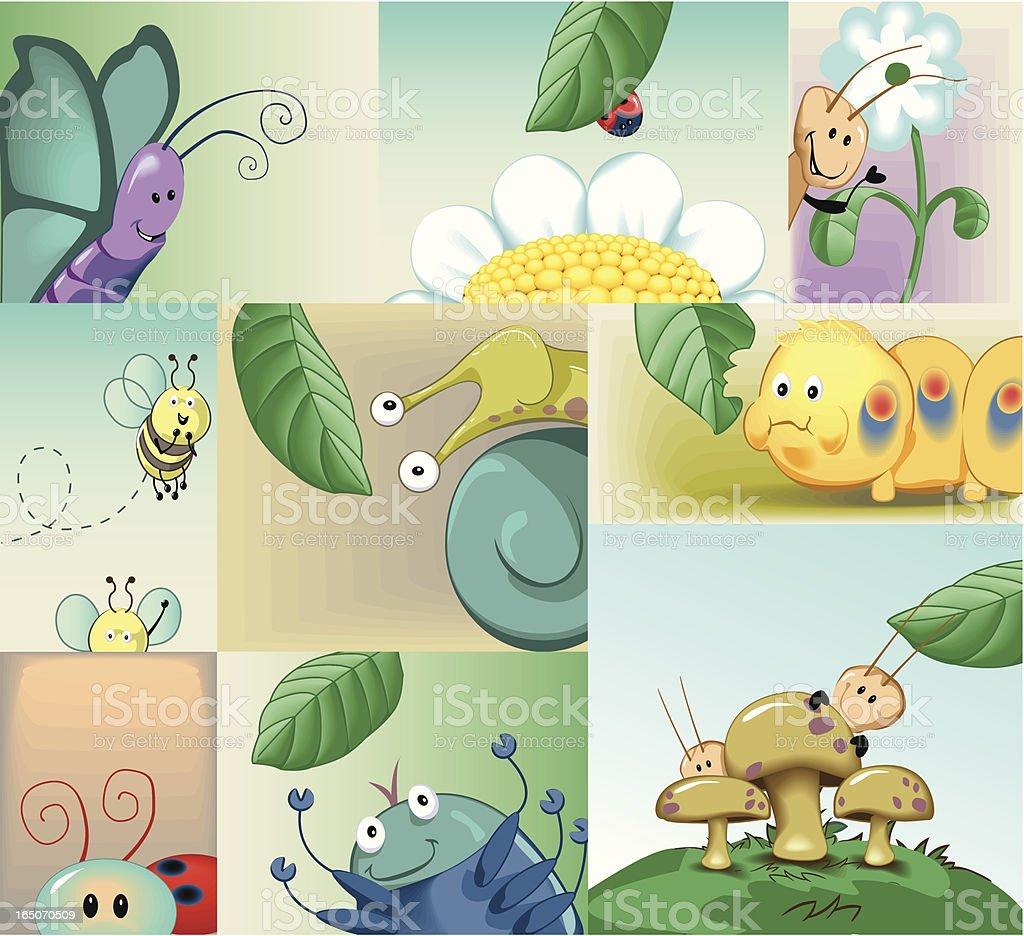 Peek A Boo Bugs royalty-free stock vector art