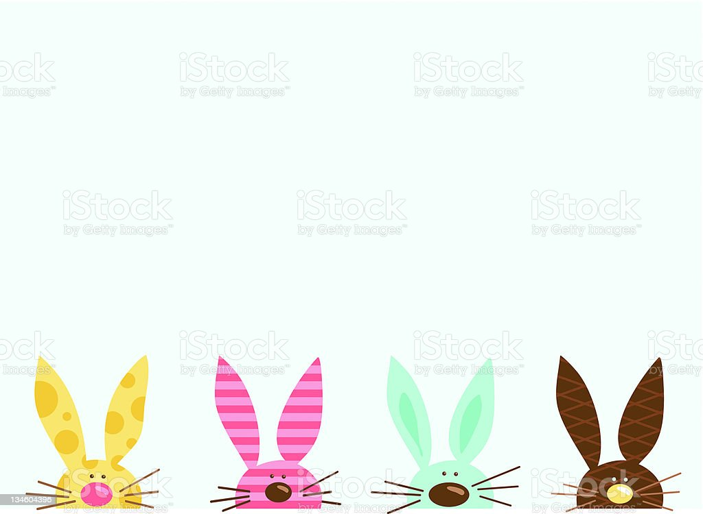 Peeking Bunnies vector art illustration