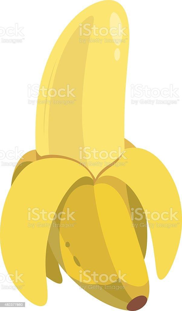 Peeled Banana Cartoon vector art illustration