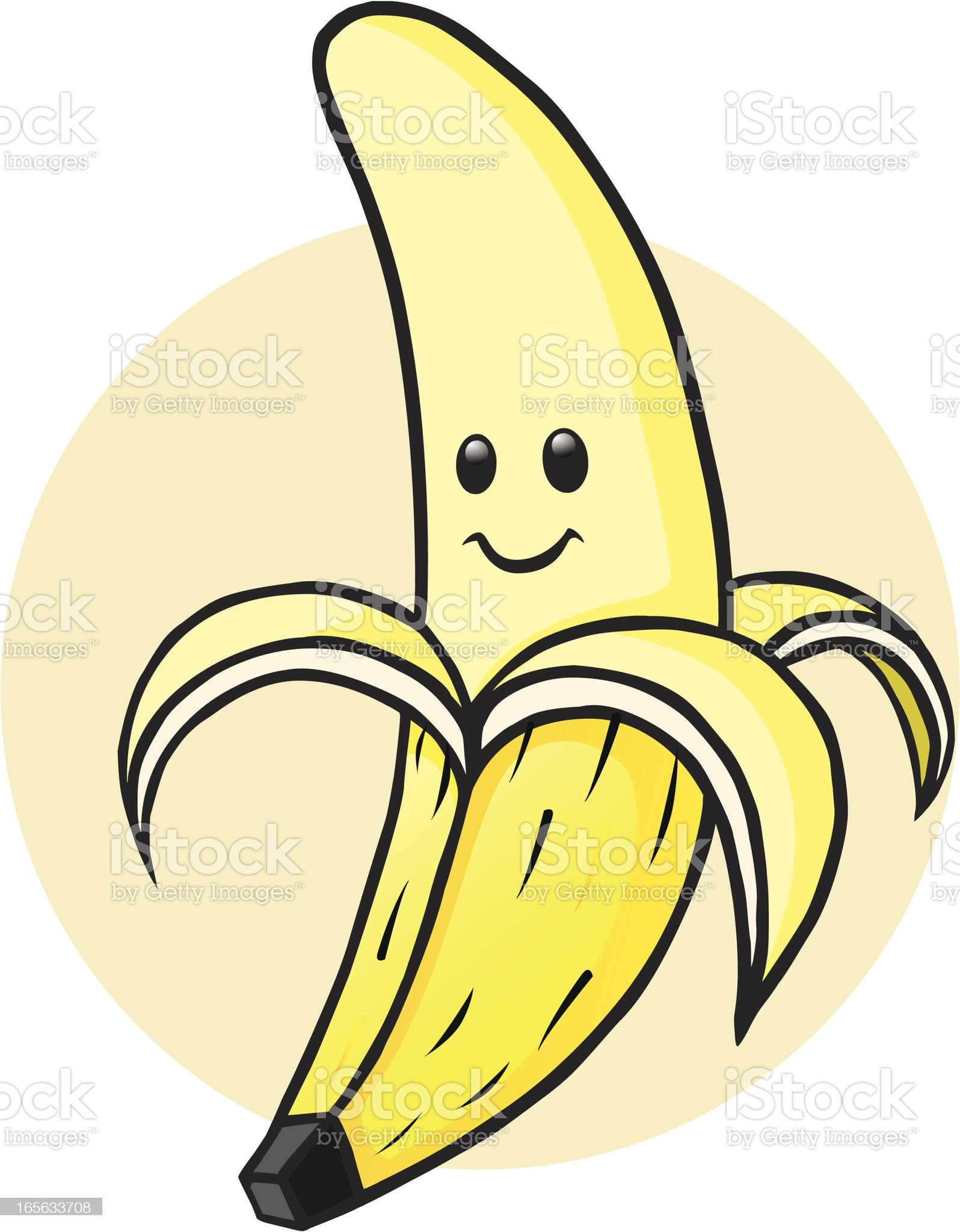 Peeled Banana Character royalty-free stock vector art
