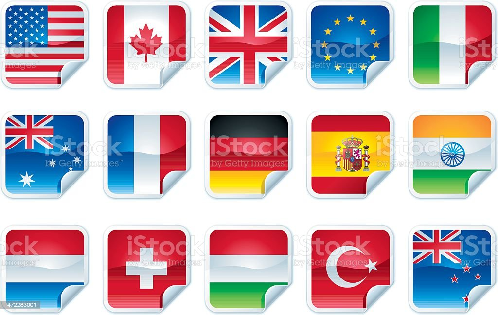 Peeled Sticker Flags royalty-free stock vector art