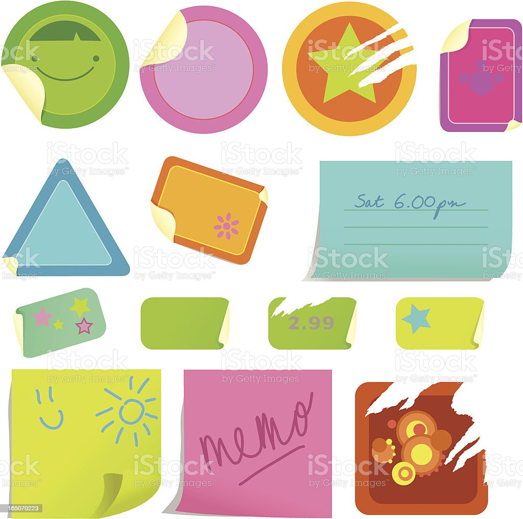 Peelers and Stickies vector art illustration