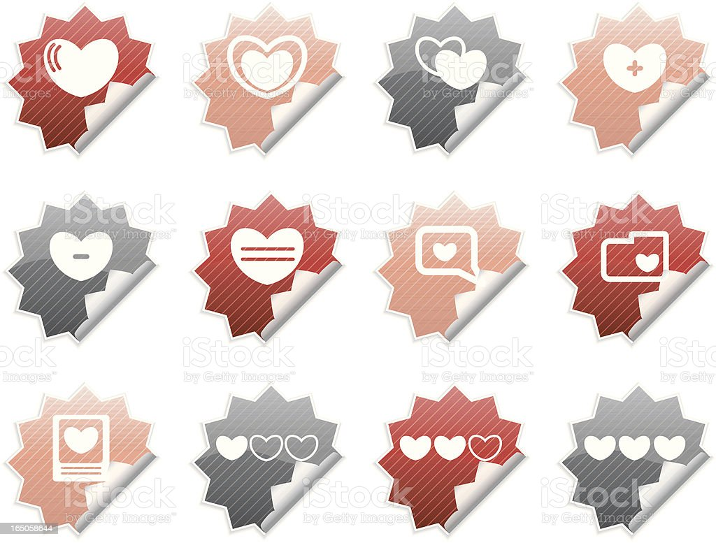 Peeling Heart Icons royalty-free stock vector art
