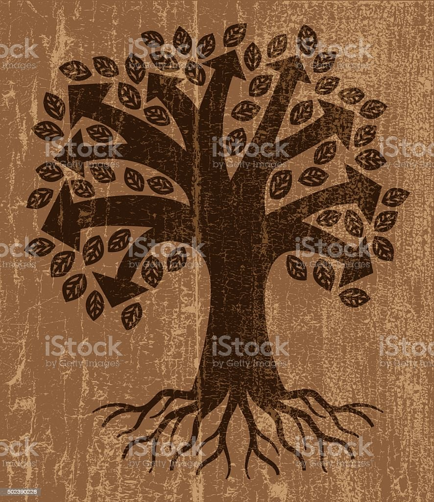 Peeling paint arrow tree vector art illustration