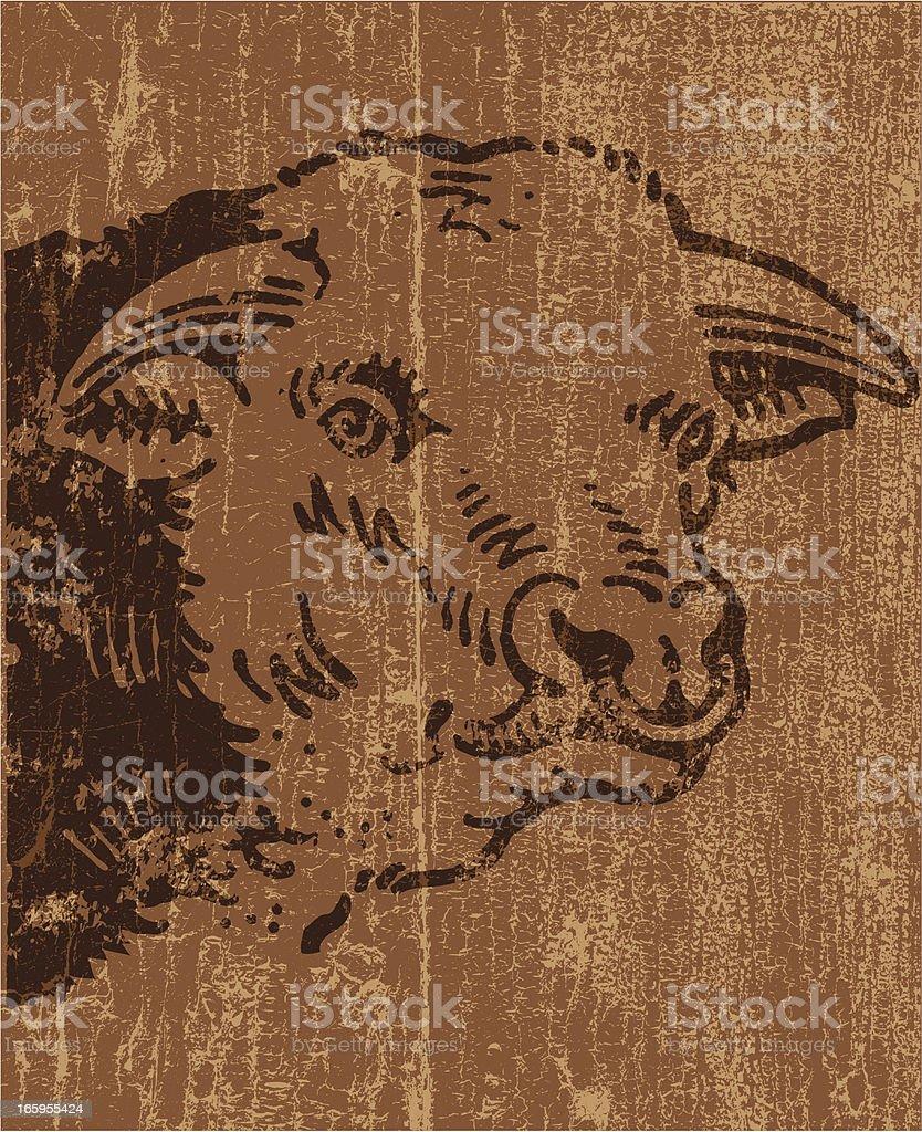 Peeling paint bull vector art illustration