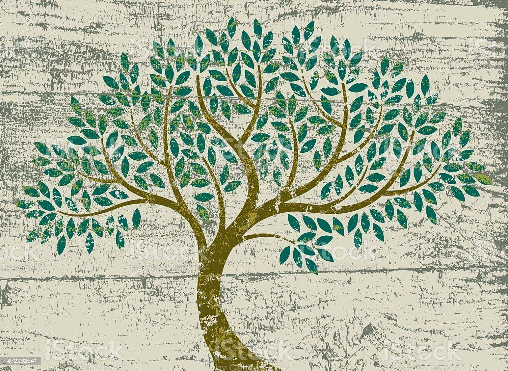 Peeling paint curved tree vector art illustration