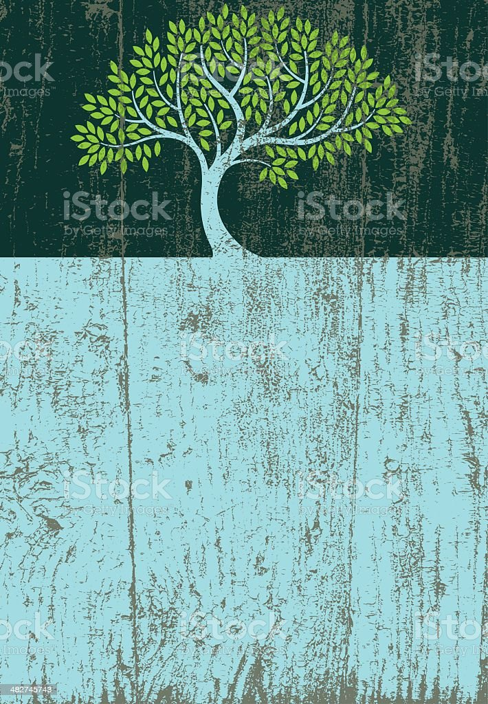 Peeling paint elegant tree vector art illustration