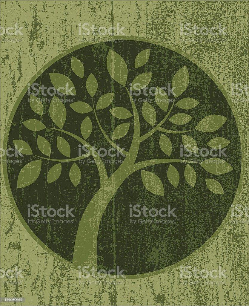 Peeling paint round tree icon royalty-free stock vector art