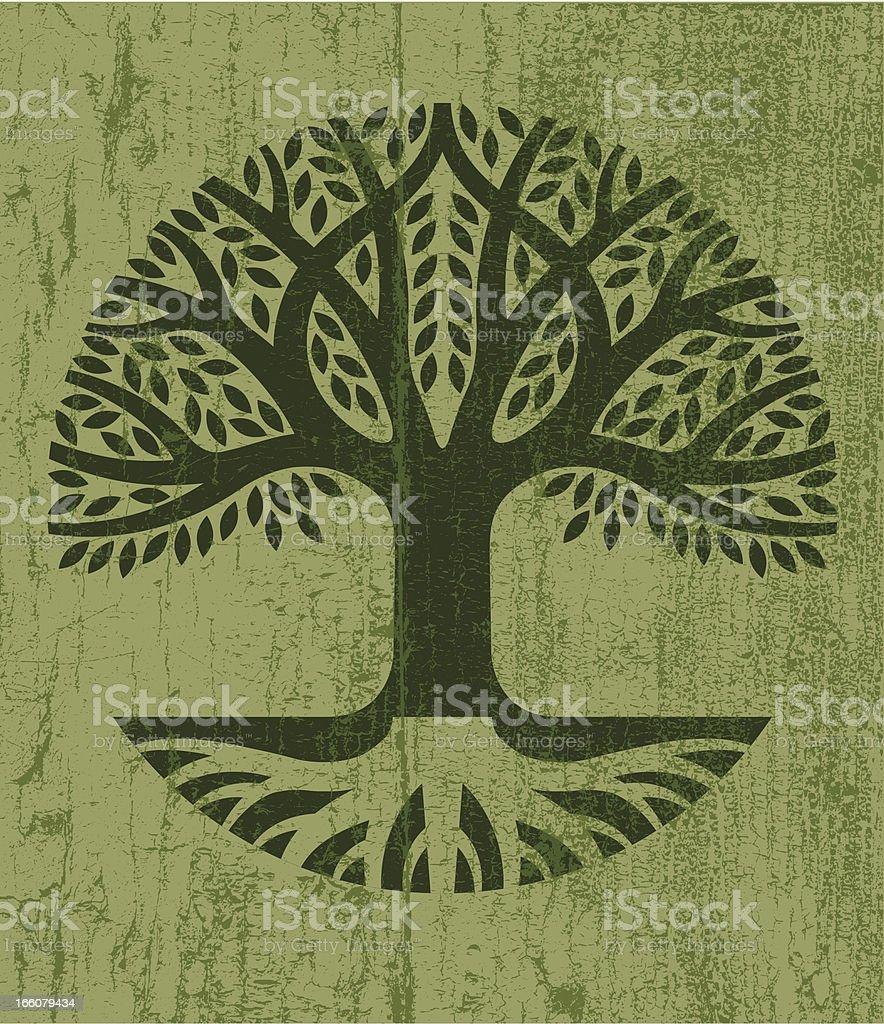Peeling paint tree icon vector art illustration