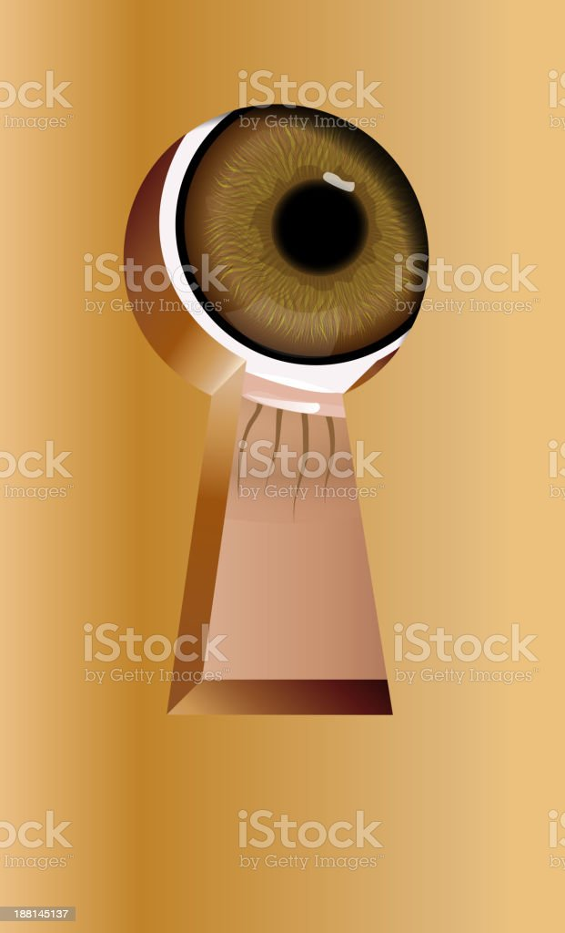 Peeping through a keyhole vector art illustration