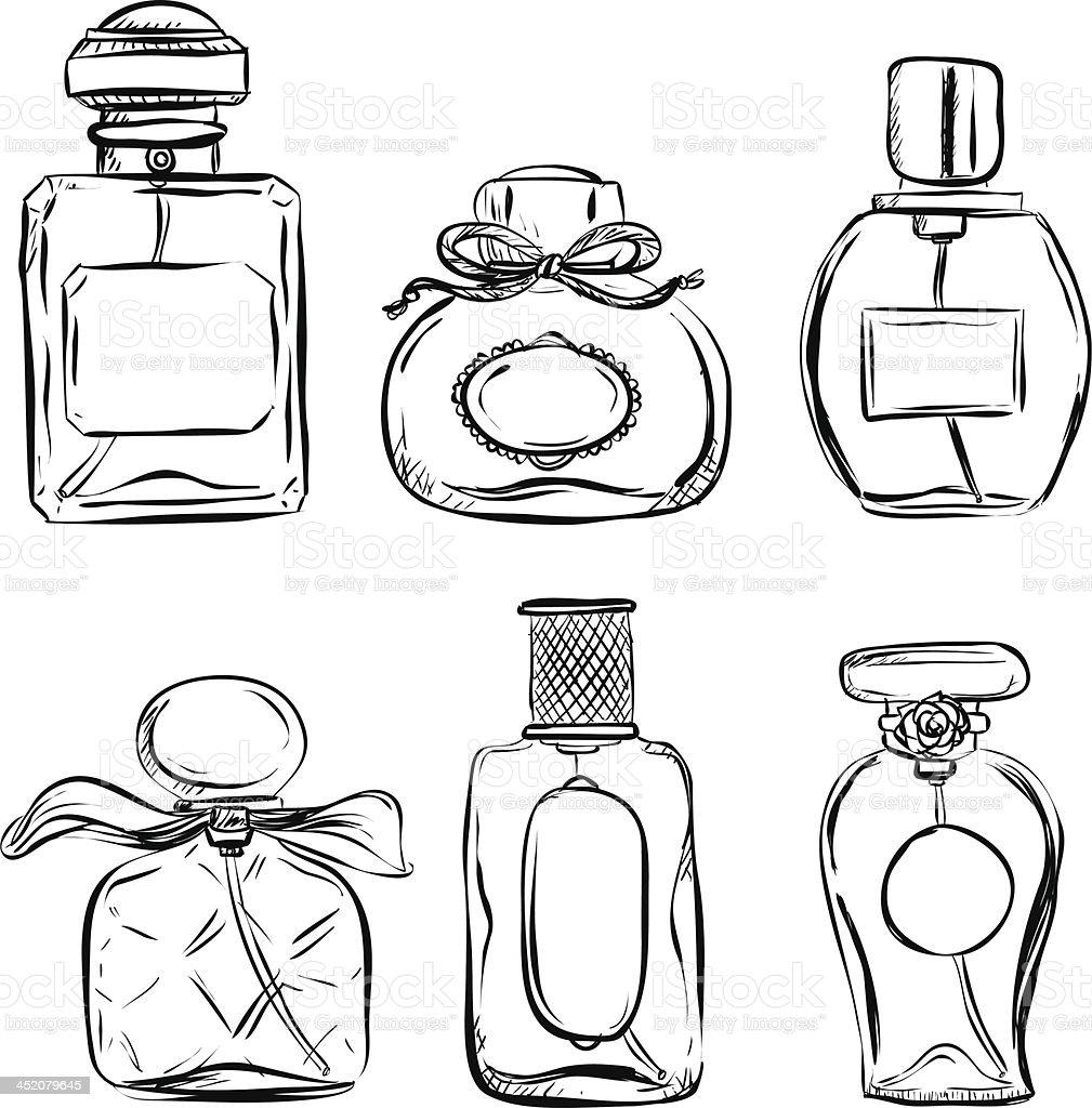 Pefume bottle in black and white vector art illustration