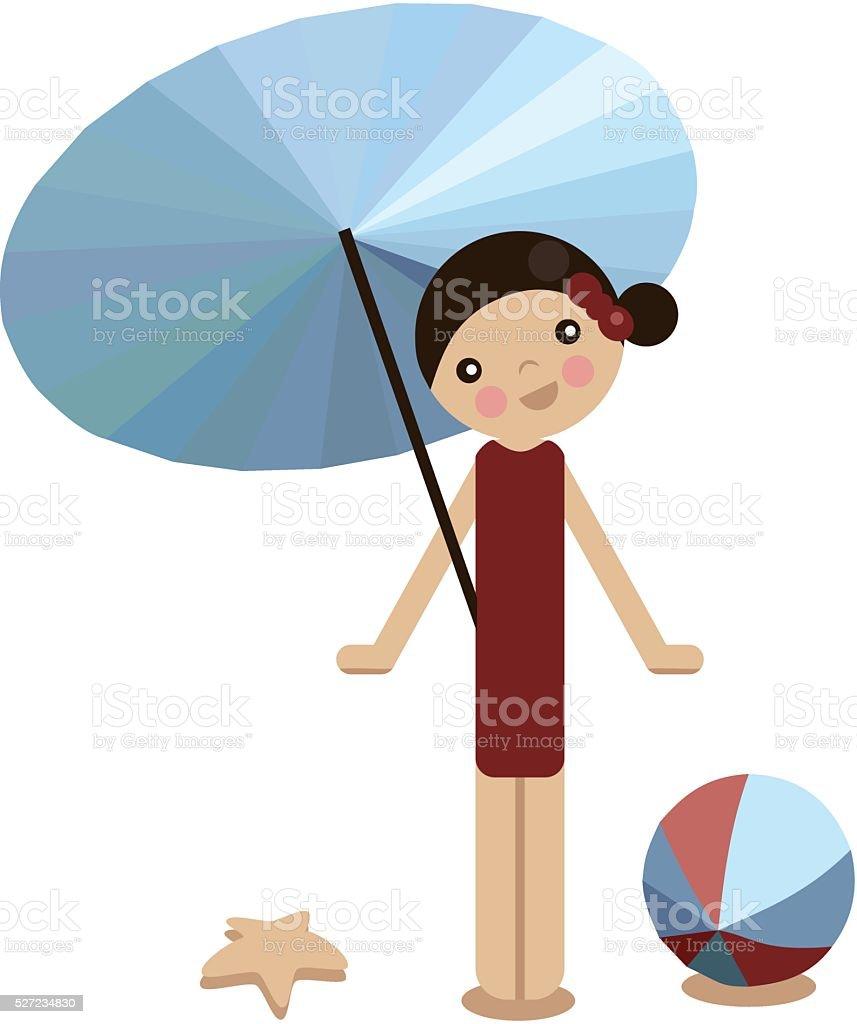 Peg doll girl on the beach in summer vector art illustration