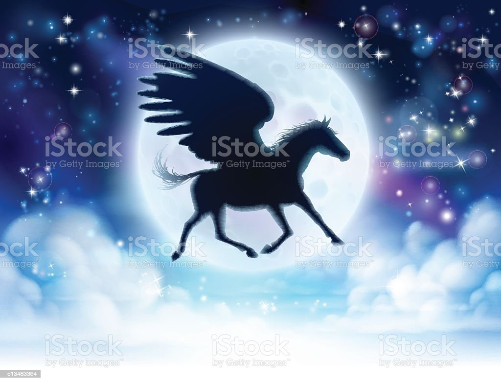 Pegasus flying moon silhouette vector art illustration