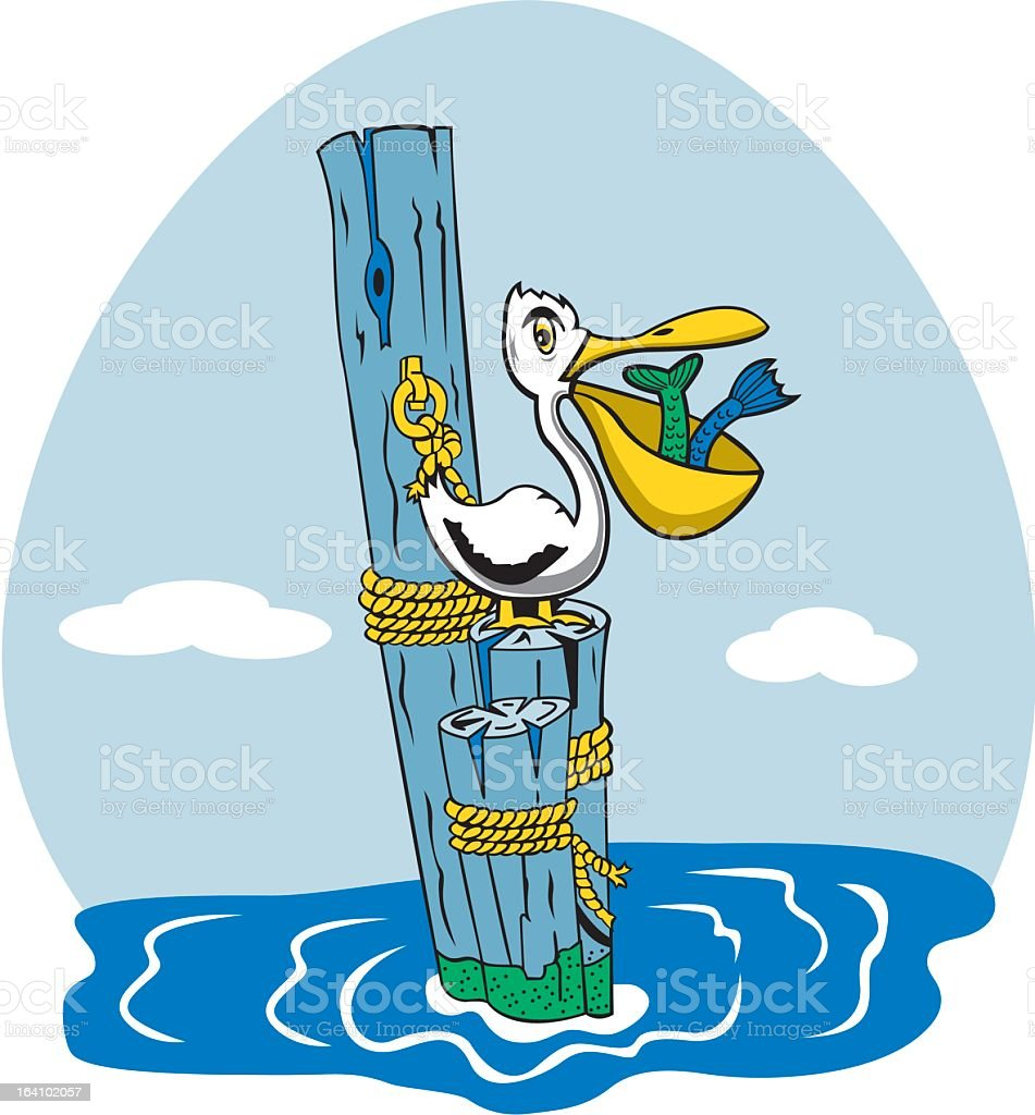 Pelican Catching Fish royalty-free stock vector art
