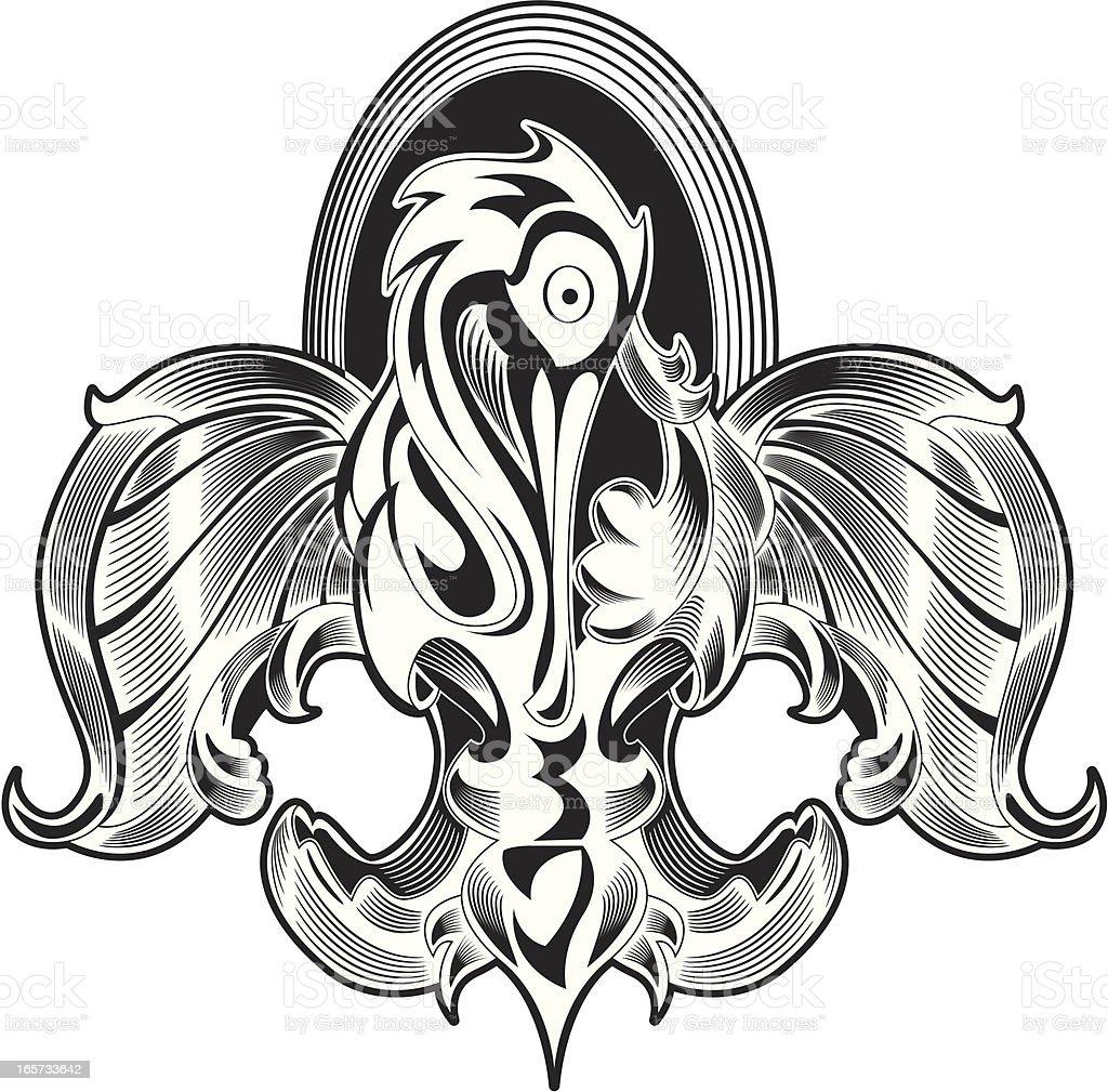 Pelican Fleur de Lis vector art illustration