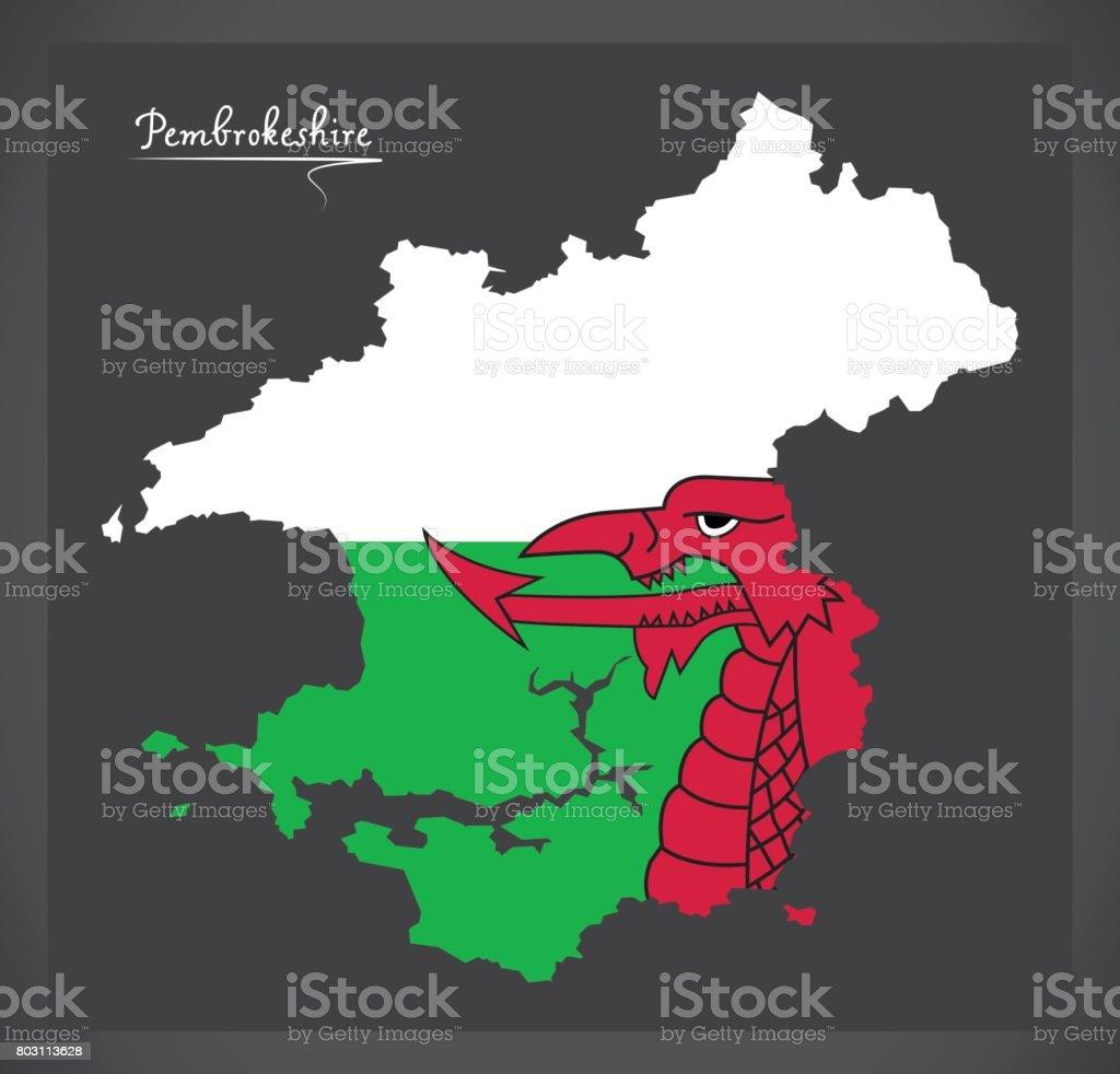 Pembrokeshire Wales map with Welsh national flag illustration vector art illustration