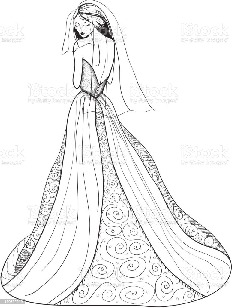 pen and ink bride with veil stock vector art 160352519 istock
