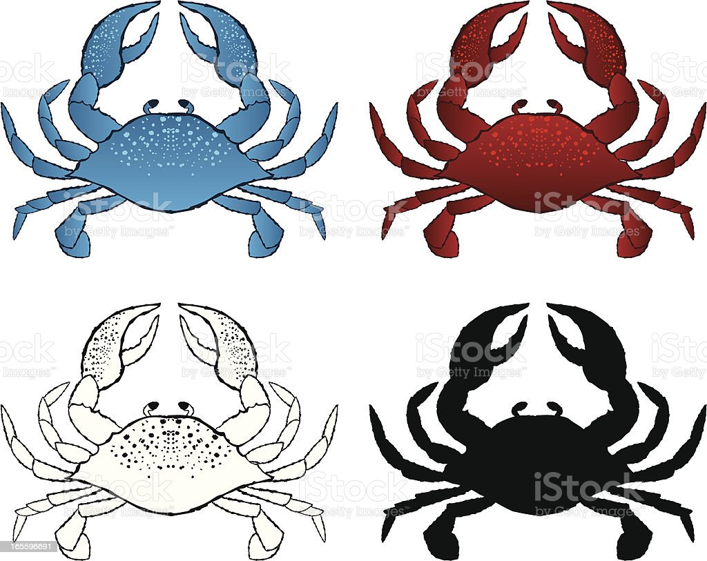 Pen and Ink Crab vector art illustration