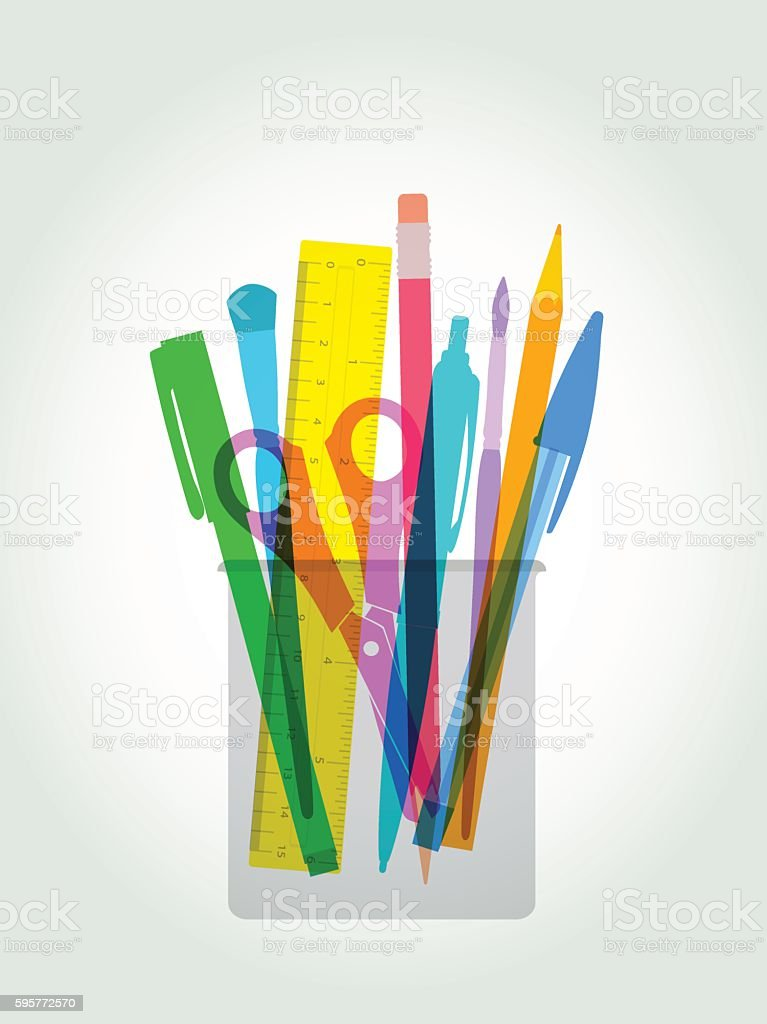 Pen and pencil holder vector art illustration