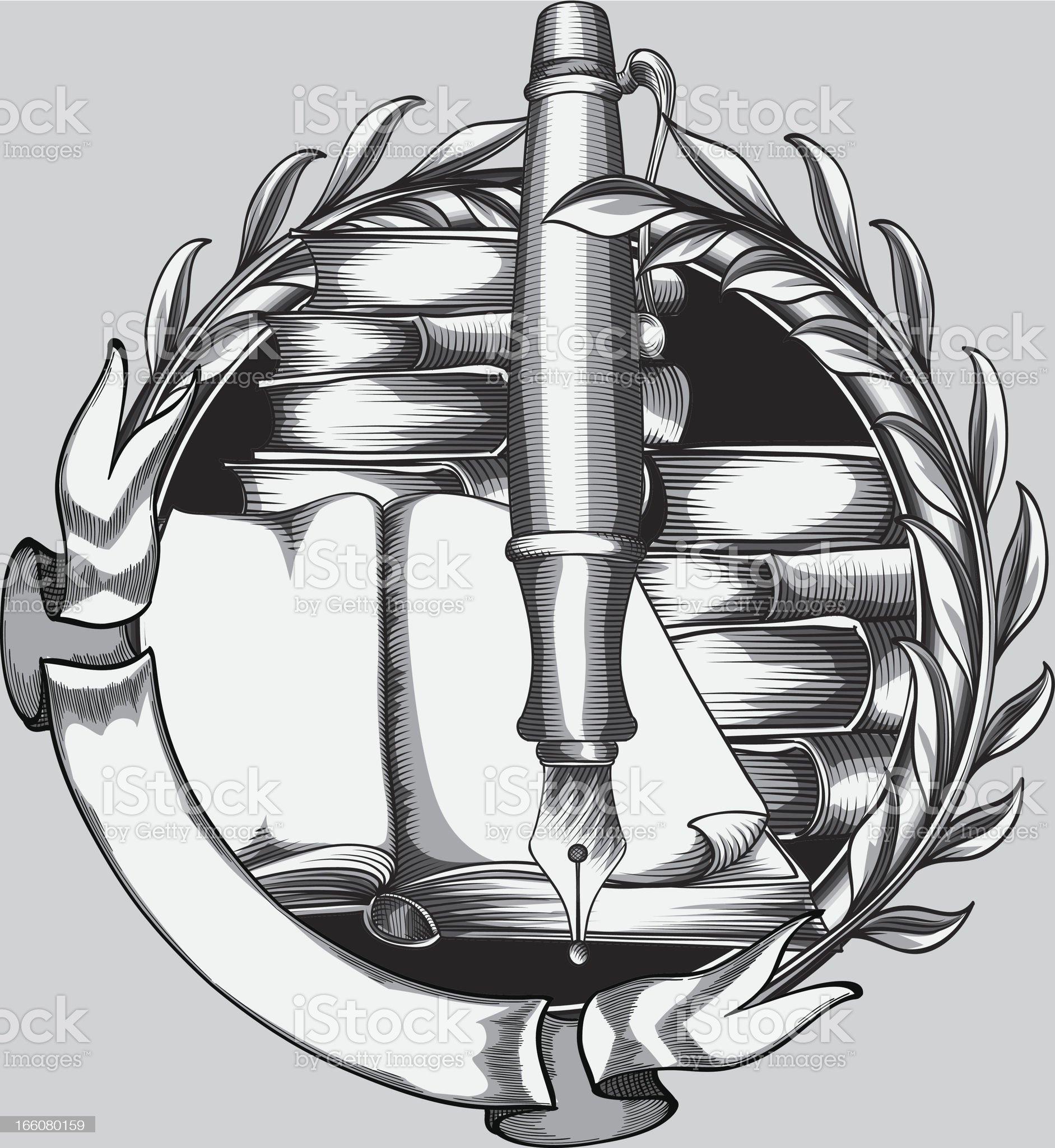 Pen & books emblem royalty-free stock vector art