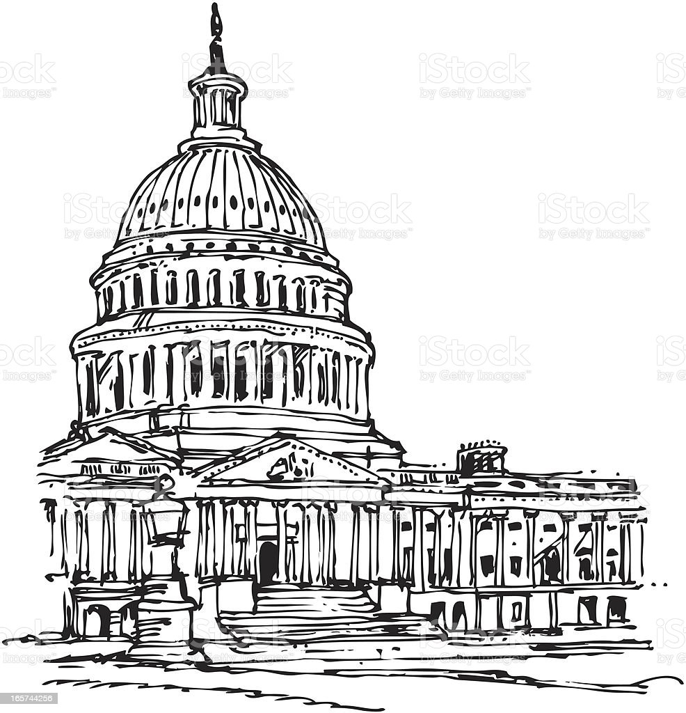 A pen drawing of a Capitol building royalty-free stock vector art