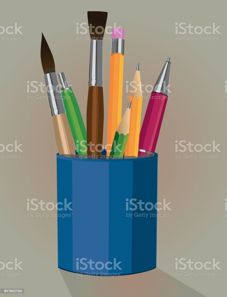 Pen holder vector art illustration
