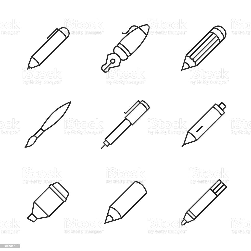 Pen icons vector art illustration