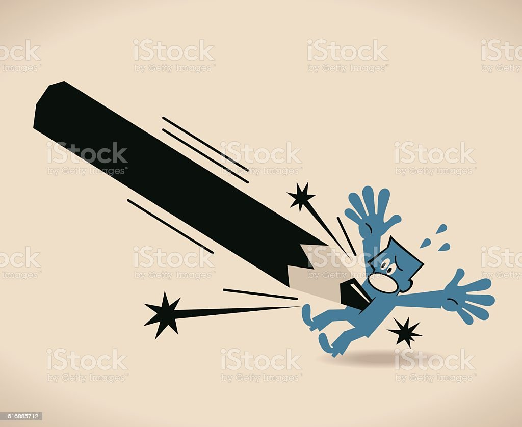 Pen is mightier than sword, Businessman is inserted by pencil vector art illustration