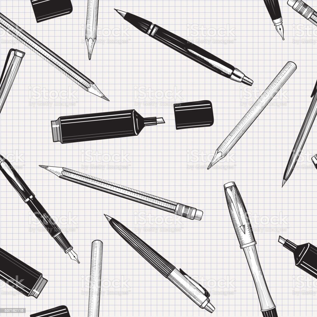 Pen, pencil and marker seamless pattern. Back to school background vector art illustration