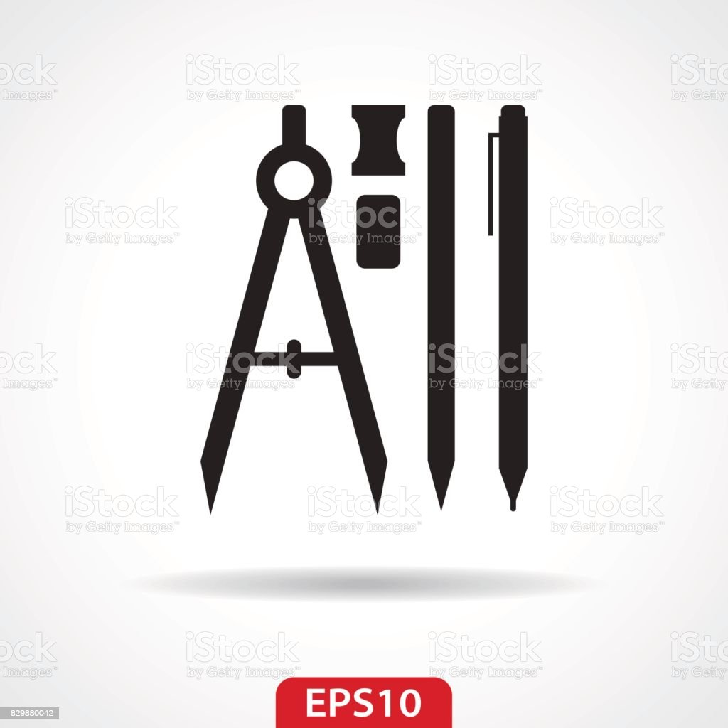 Pen Pencil Compass Flat Icon - Vector Illustration vector art illustration
