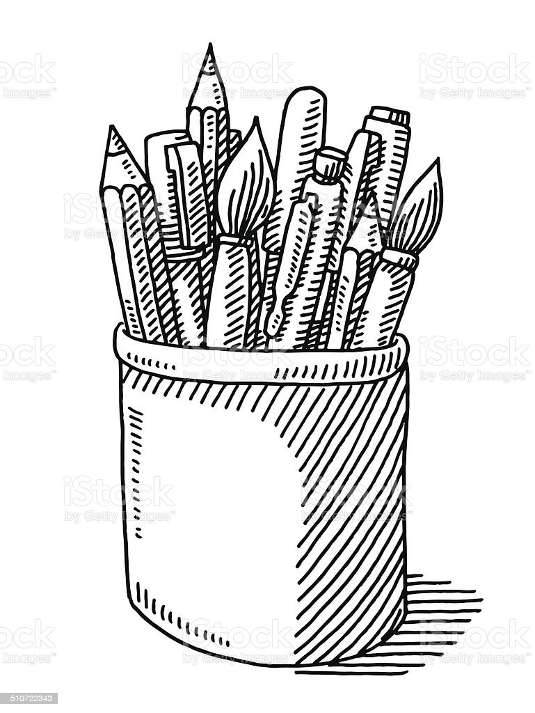 Pen pencil paint brush tin drawing stock vector art for Black and white only