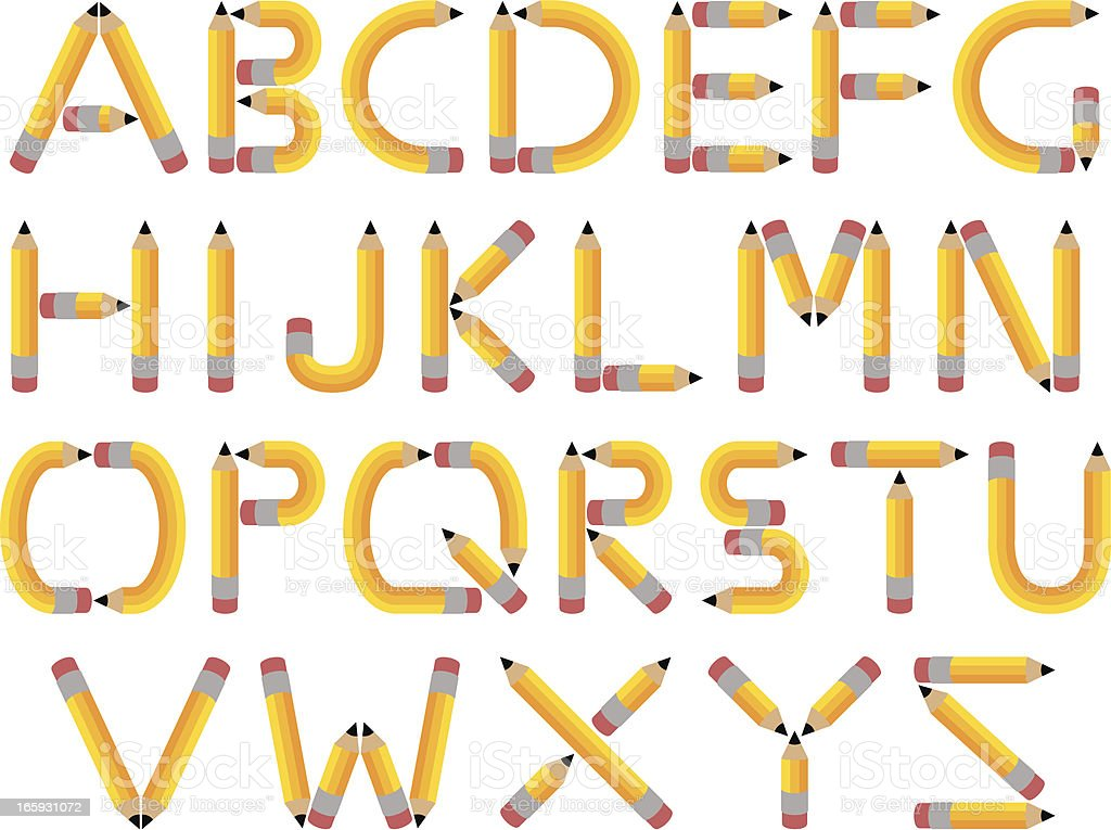 Pencil Alphabet vector art illustration